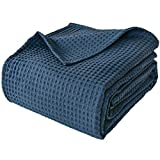 PHF 100% Cotton Waffle Weave Blanket King Size 108' x 90' for Home Decorations - Soft Comfortable Breathable and Moisture Absorption for All Season - Perfect for Couch Bed Sofa Navy Blue