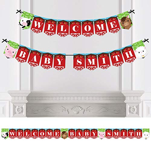 Big Dot of Happiness Custom Farm Animals - Personalized Baby Shower Bunting Banner & Decorations - Welcome Baby Custom Name Banner