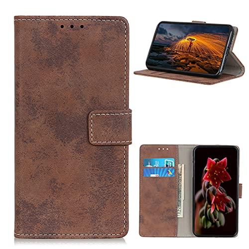 XFDSFDL® Schutzhülle für Motorola One Hyper (6,5 Zoll) PU Lederhülle Flip Cover Retro Gefrostet Muster mit Ständer Magnetverschluss Taschen Kartensteckplatz Brieftasche Hülle, Braun