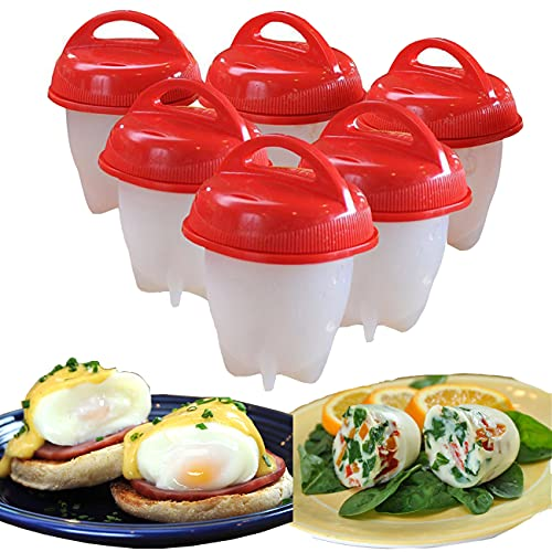 Cocedor Huevos, BPA Free Silicone Non Stick Rapid Egg Boiler Egg Cooker Without Shell Easy Eggs, for Kitchen Gadgets Accessories Hard Boiled Egg Cooker (6 Pcs)
