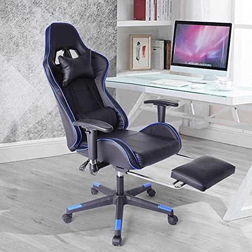 Gtracing Chair Gaming, silla para juegos con reposapiés, grande y alta, 550 libras, resistente, ergonómica, para videojuegos, silla con respaldo alto, silla para computadora, estilo de carrera, con r