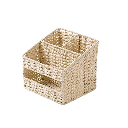 CHGDFQ Caja de Almacenamiento Trapezoidal Beige de la Llave de Escritorio, Caja del Tejido de los Efectos de Escritorio del Escritorio del Escritorio de 16 * 16 * 16cm