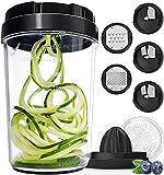 Fullstar Vegetable Spiralizer Vegetable Slicer - 8 in 1 Zucchini Spaghetti Maker Zoodle Maker Veggie Spiralizer Adjustable Handheld Spiralizer Zucchini Noodle Maker Zucchini Spiralizer with Container