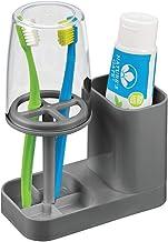 mDesign - Soporte de plástico moderno para baño, pasta de dientes y cepillo de dientes con taza de enjuague/cubierta, cent...