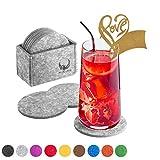 Fasans 12 Filzuntersetzer (Hell Grau) (rund) für Gläser, Tassen, Becher – 12 Stück in praktischer Aufbewahrungsbox (Glasuntersetzer/Tischuntersetzer Filzuntersetzer) inkl. 1 teilige Love Glasanhänger