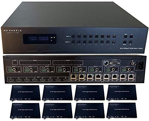 8x16 8x8 HDR 18GBPS HDbaseT 4K Matrix Switcher ARC Downscaling 16x16 with 8 Receivers HDMI 2.0a 2.0 CAT6 CAT5e HDMI HDCP2.2 Routing SPDIF Audio CONTROL4 Savant Home Automation