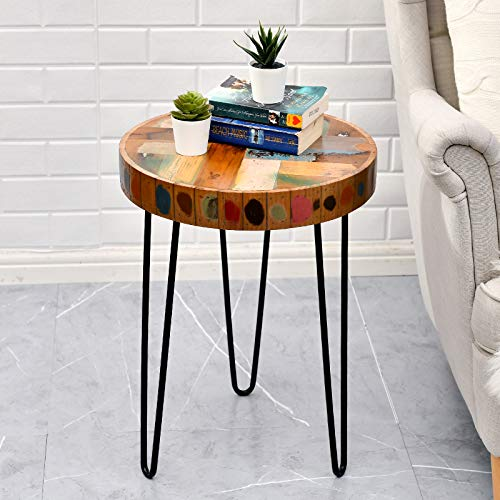 WELLAND Side Table Reclaimed Wood (3D Circle)