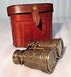 Castle Instruments Antiguo-Latón-Binocular-Vintage-Estuche de Cuero-Telescopio-Pirata-Catalejo-Binocular-Regalo