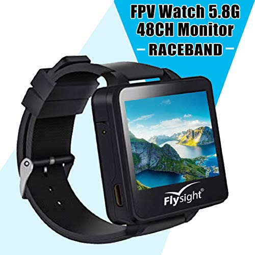 Flysight 5.8Ghz FPV Watch Racing Band 40Channel Receiver Mini Wearable Screen Monitor Watch with Raceband HD 2 Inch Real-IME Video Display for RC Drones Compatible with Bos200RC Gteng Watch