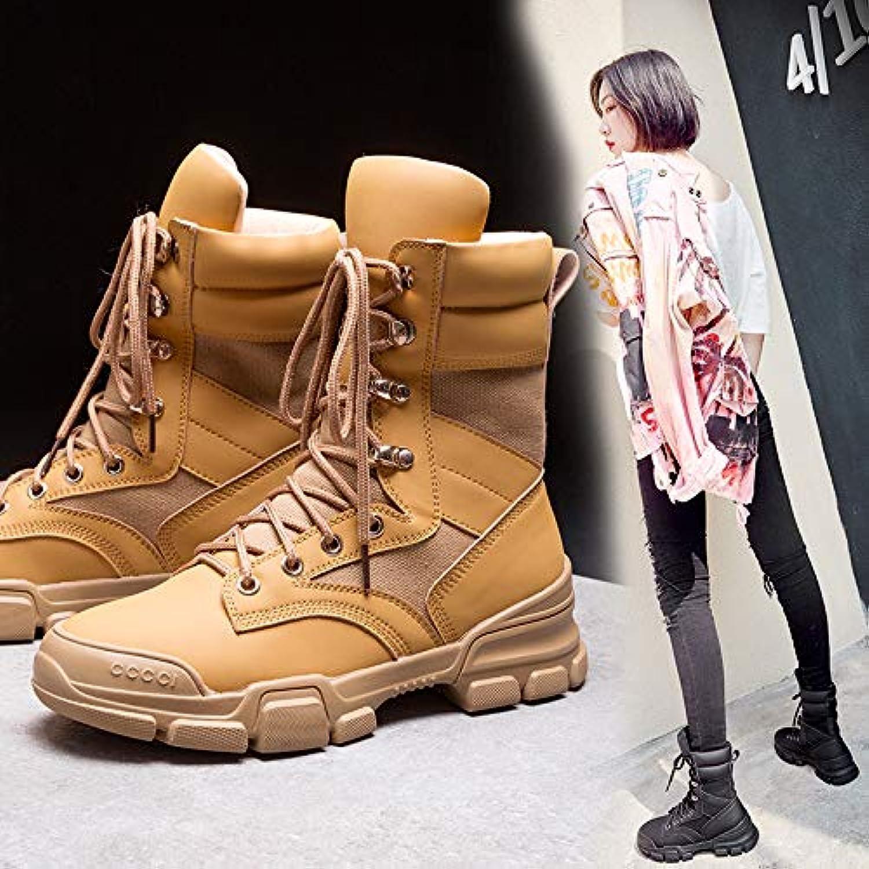 HOESCZS Stiefel Martin Stiefel Herbst Und Winter Werkzeug Stiefel Kinder Stiefel Einzelne Stiefel Dicken Boden Stiefel Flache Martin Stiefel Wilde Mode