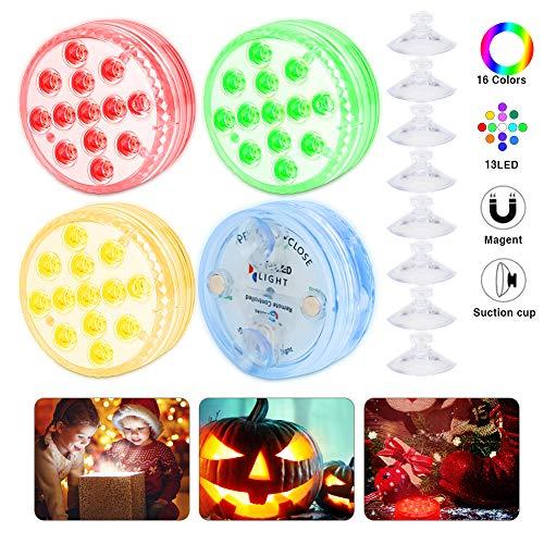 OVAREO Unterwasser Licht, Aquarium Led Beleuchtung mit Saugnäpfen ausgestattet, Neues Design 13 LED Farbwechsel Wasserdichtes Licht für Schwimmbad/Badezimmer/Aquarium/Festival Party - 4 Stück