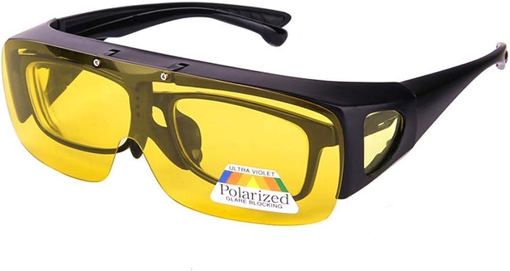 Dollger Gafas de Conducción Nocturna Sobre Gafas Graduadas HD Polarizadas Antideslumbrantes Visión Nocturna Gafas Protección UV400 Hombre Mujer