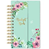 Budget Planner - Undated Monthly Bill Organizer with Pockets, Expense Tracker Notebook, Compact Size 7.56' x 4.72' (Smaller Than A5), Budgeting Journal and Financial Planner - Green Flower