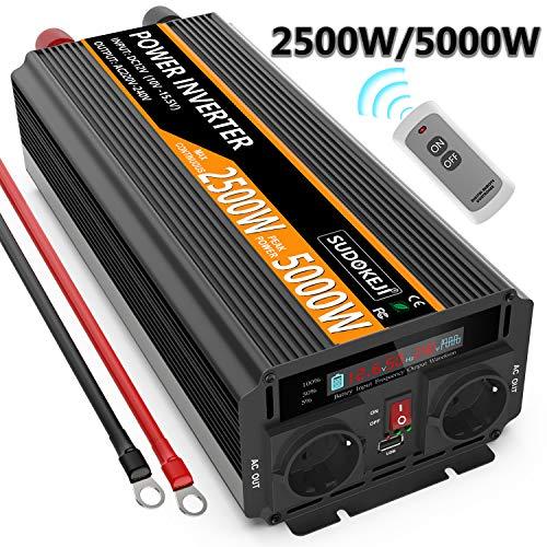 (Max 5000W) SUDOKEJI Auto Inverter 2500W Spannungswandler 12V 230V für Wohnmobil LKW mit Fernbedienung, LED Display & 2 EU Steckdosen und USB Port Wechselrichter