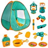 Kids Camping Play Tent Gear Set with Pretend Equipment Tool Indoor Outdoor Toys for Toddlers 20pcs