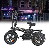 NaKto Folding Electric Commuter Bike, 16'' City Ebike for Adults with 250W Motor & 36V 10Ah Removable Lithium Battery, Top Speed 22mph, with Headlight and Tail Light for People Aged 14 to 65 (Black)…