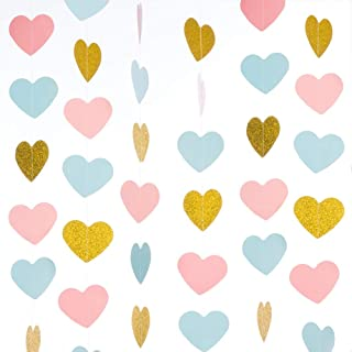 WEVEN Gold Glitter Pink Blue Paper Heart Garland, Hearts Banner, Hanging Party Decorations for Wedding, Thanksgiving, Baby Shower, 1st Birthday Party, 3