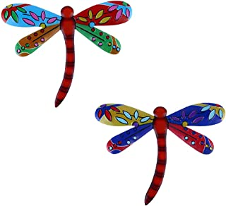 Cabilock 2pcs Metal Dragonfly Wall Art Inspirational Wall Decor Outdoor Fence Art Outside Hanging Sculptures for Indoor Ou...