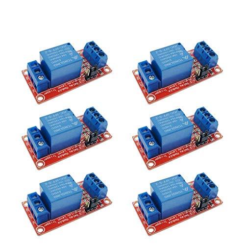 ARCELI 6Pcs 5V One 1-Kanal-Relay-Modul-Board-Schild mit Optokoppler-Unterstützung Hoch und Niedrig Trigger-Stromversorgungsmodul für Arduino