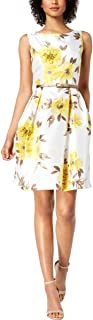 Womens Petites Belted Floral Dress with Cardigan