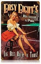 Lagoog Easy Eights Pool Hall Pinup Girl Vintage Retro Style Metal Sign 8X12 Inch Wall Art Sign