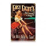 ABLERTRADE Letrero de Metal con Texto en inglés Easy Eights Pool Hall Pinup Girl...