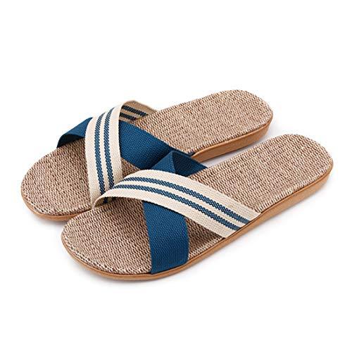 Zapatillas de Estar por Casa de Mujer/Hombre de Lino Zapatillas Interior Sandalias Unisex para Verano Primavera Otoño(Azul,44-45)