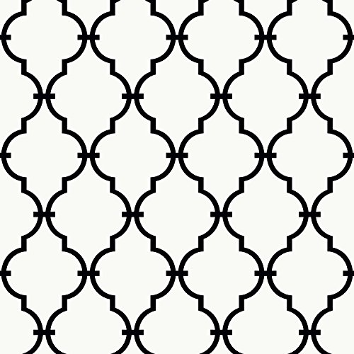 York Wallcoverings YS9100 Peek-A-Boo Graphic Trellis Wallpaper, White/Black