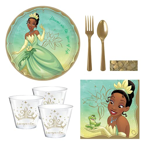 Princess Tiana Party Supplies and Decoration Set for 16 Guests - Includes Large Paper Plates, Napkins, Cups, Cutlery and Confetti