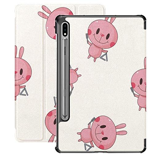 Funda Galaxy Tablet S7 Plus de 12,4 Pulgadas 2020 con Soporte para bolígrafo S, Instrumento de Juego de Conejo Animal de Dibujos Animados Funda Protectora Delgada con Soporte para Samsung