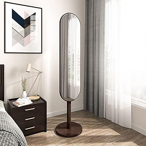 APENCHREN Specchio da Terra da Terra Specchio da Toilette in Legno per Mobili Guardaroba Camera da Letto Stile Nordico Semplice, Montaggio Rapido,WidenㅤBrown