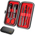 OKQ 7-Piece Nail Clipper Set with Carrying Case (Black)