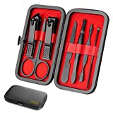 Nail clipper set, High Pedicure stainless steel professional manicure and pedicure tools 7 PCS set, professional cleaning care set for Men & Women with carrying case (Black) (Black(7PCS))