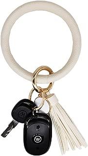 AnnabelZ Keychain Bracelet Wristlet Bangle Key Holder Round Keyring Leather/Silicone Tassel Key Ring Chain for Women Girls