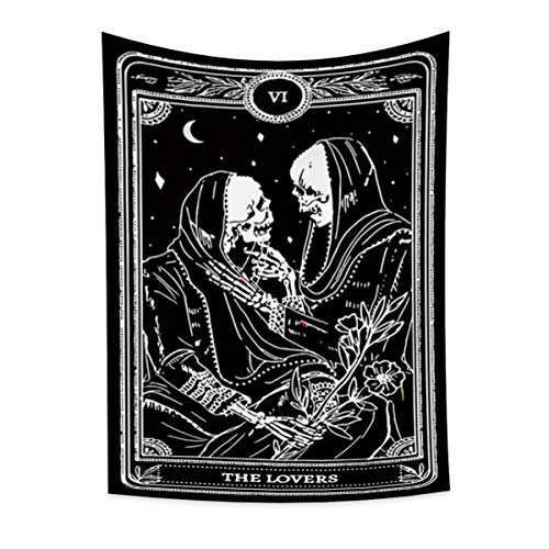 Lfeey Skull Tapestry Black and White Tarot The Lover Skeleton with Floral Starry Star Sky Wall Art Hanging Vertical Polyester Blanket Mural for Men Women Bedroom Living Room College Dorm 39.4'x59.1'
