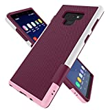 Zectoo Case for Galaxy Note 9, Ultra Slim 3 Color Hybrid Impact Anti-Slip Shockproof Soft TPU Hard PC Bumper Extra Front Raised Lip Case Cover for Samsung Galaxy Note 9 (6.4 inch) - Wine
