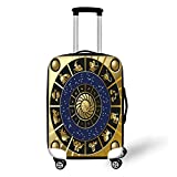 Travel Luggage Cover Suitcase Protector,Astrology,Plaquet Seem Square Shape and Inner Details Zodiac Horoscope Symbol Decorative,Black Gold and Navy Blue,for Travel,L
