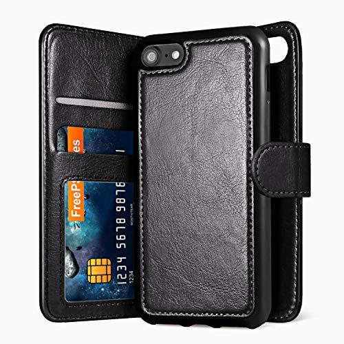 Savfy - Custodia a portafoglio 2 in 1 con chiusura magnetica in pelle per iPhone 7 (4,7 pollici), colore: Nero