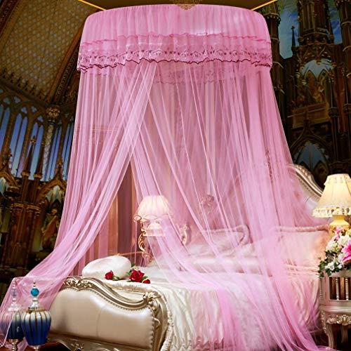 WLD Summer Mosquito Net Dome Muggennet, Snelle eenvoudige installatie, Opknoping Prinses Bed Muggennet, Universele Dome Muggennet voor Volledige grootte Bed Hangmatten, Tweepersoonsbed Muggennet, Geel roze