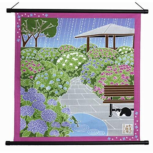 タペストリー 壁掛 掛軸 猫 紫陽花 アジサイ あじさい たまのお散歩 6月