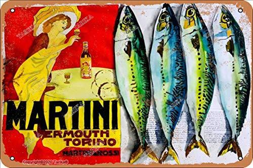Martini Vbrmouth Torino Martimi Ross! 20 x 30 cm, aspecto vintage, decoración de hierro, letrero para decoración para el hogar, cocina, baño, granja, jardín, garaje, citas inspiradoras