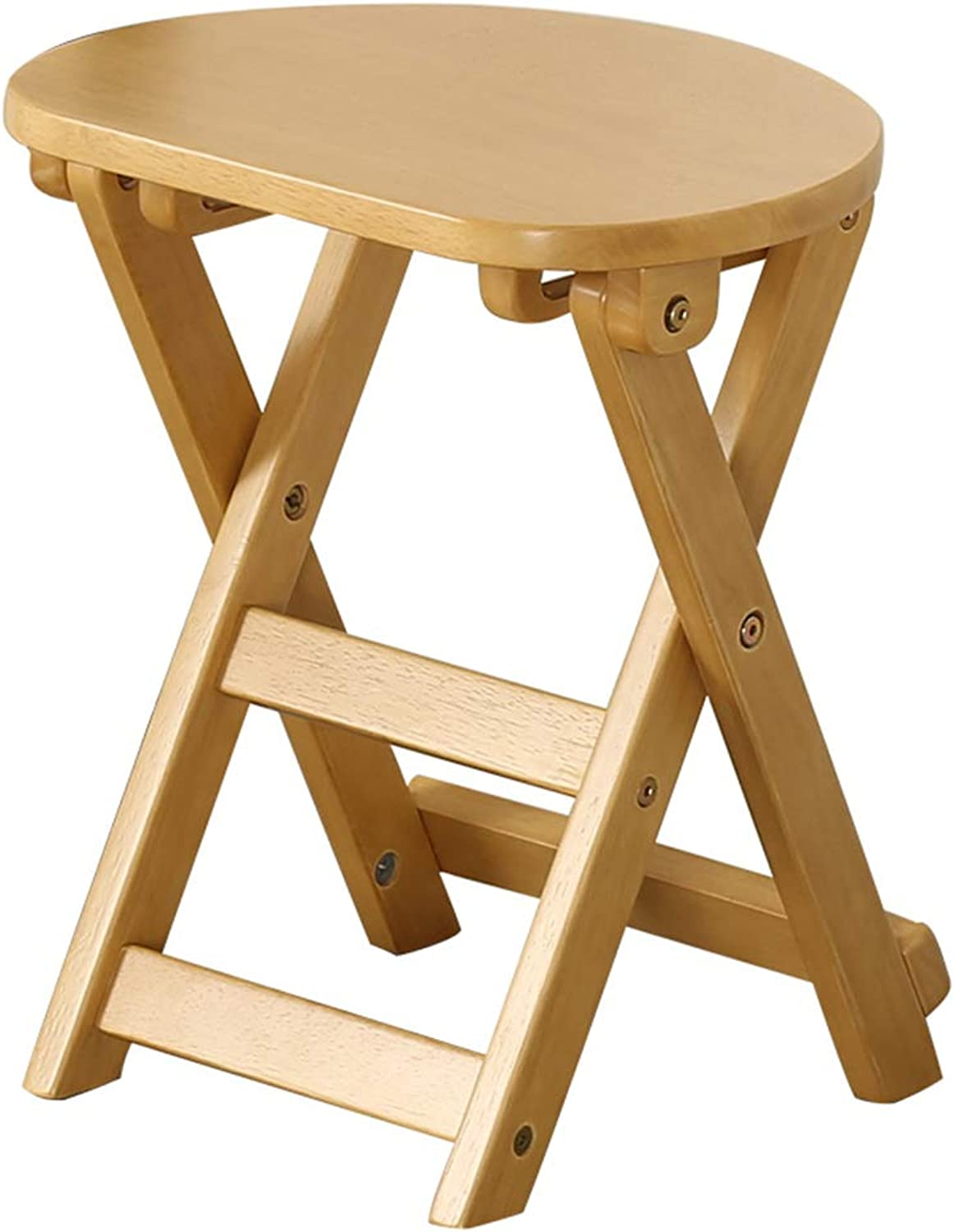 Stool Modern Minimalist Folding Stool Portable Solid Wood Makeup Stool Dining Stool Multifunctional Learning Stool WEIYV (color   Wood-color, Size   29  35  43cm)