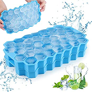 Henscoqi 2 Packs Ice Cube Trays with No-Spill Removable Lid Easy-Release Silicone 74-Ice Cube Molds BPA Free Certificated for Whiskey Cocktail Stackable Durable and Dishwasher Safe