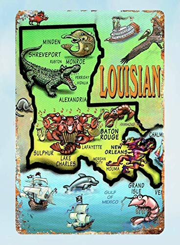 ZMKDLL Retro Travel Postcard Louisiana Metal Tin Sign Bedroom  Bar Garage Coffee Shop Wall Decor -Tin Sign 8x12 Inch