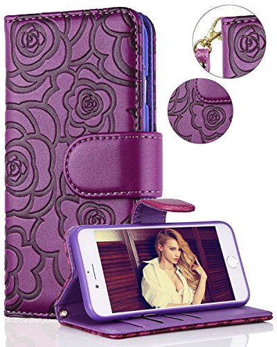 "FLYEE iPhone 6 Wallet Case, iPhone 6s Premium Vintage Emboss Flower Flip Wallet Shell PU Leather Magnetic Cover Skin with Detachable Wrist Strap Case for iPhone 6/6s 4.7""(Purple)"