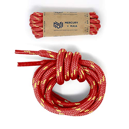 Honey Badger Work Boot Laces Heavy Duty W/Kevlar - USA Made Round Shoelaces for Boots - Red Nat, 60 in (1p)