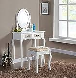 Generic Rror Dormitorio Newrs con taburete un con taburete Vintage tocador y cajones ovalados blanco espejo dormitorio nuevo Vintage tocador mesa