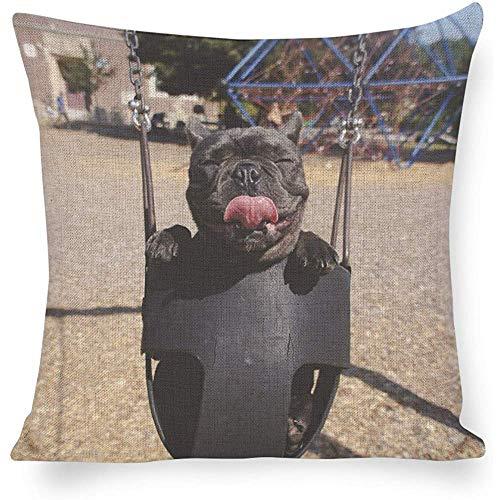 Jonycm Kussensloop Hond Sways In Een Kinderstoel Op Een Swing Set Print Auto Kussen Cover Kussensloop Decoratieve Gooi Kussen Case 45X45Cm Decoraties Sofa Gastenkamer Ademend