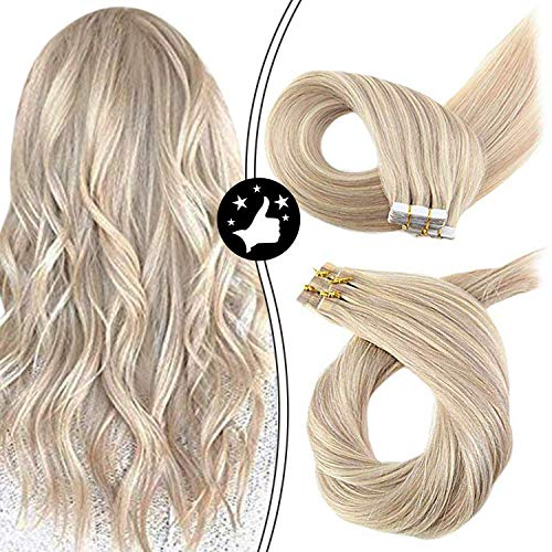 Moresoo 22 Inch Remy Hair Extensions Tape in Human Hair 40pcs/100g Color Ash Blonde #18 Highlighted with Bleach Blonde #613 Skin Weft Seamless Hair Extensions Full Head Set Glue in