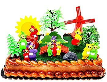 Teletubbies Cake Topper Set Featuring Po Dipsy Lala Tinky Winky and Themed Accessories